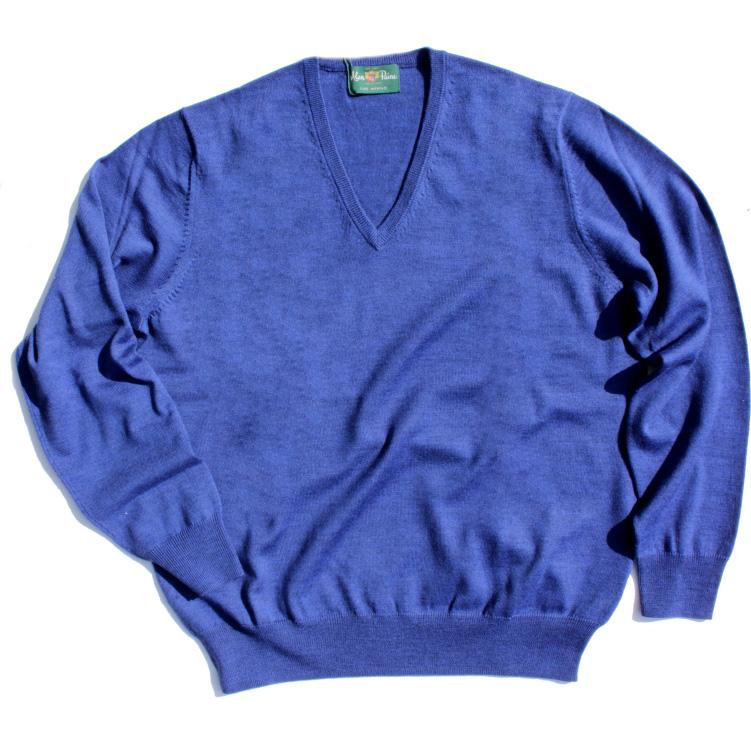 アランペイン Vセーター ブルー